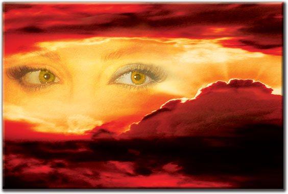 obraz zachód słońca i oczy