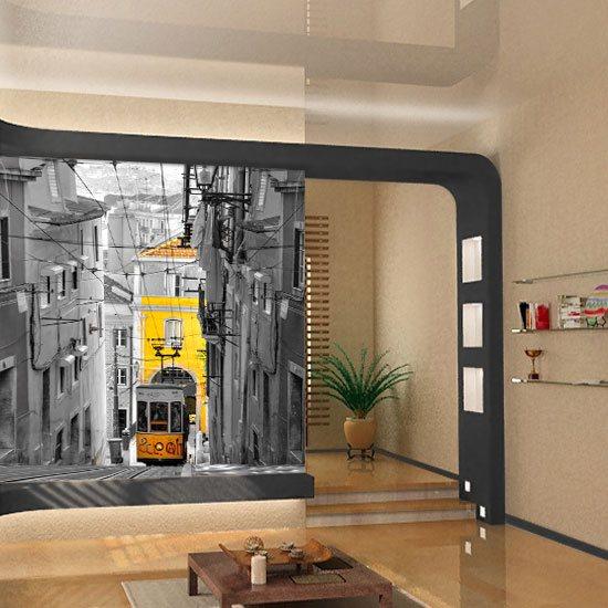 fototapeta żółty tramwaj
