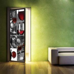 dekoracje na drzwi czerwone wino