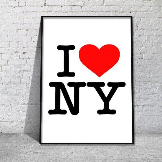 napis i plakat I love NY