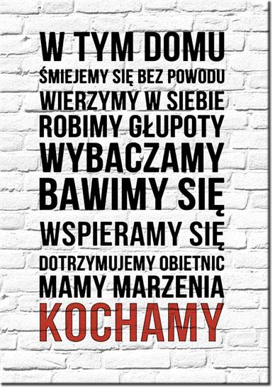 Plakat Zasady domu napis