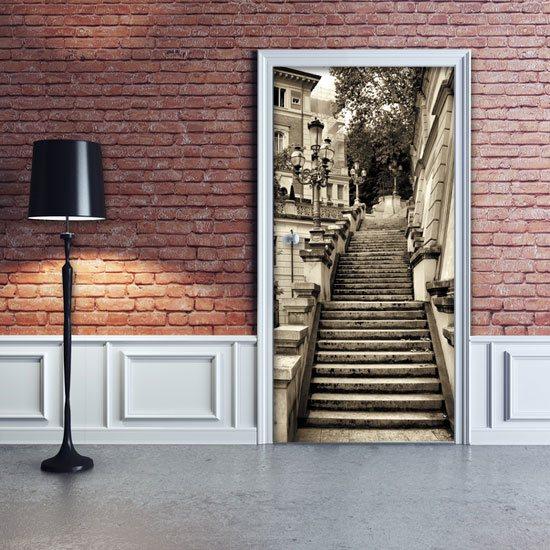 naklejka na drzwi schody