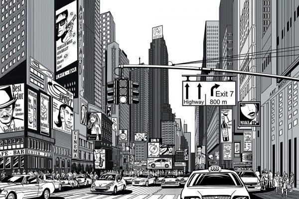 czarno-biała fototapeta z komiksowym miastem