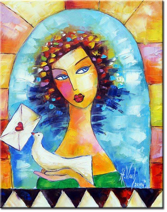 obraz piękna dziewczyna i ptaszek