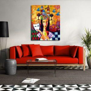 obraz dziewczyna i kolorowe miasto