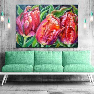 obraz trzy tulipany papuzie