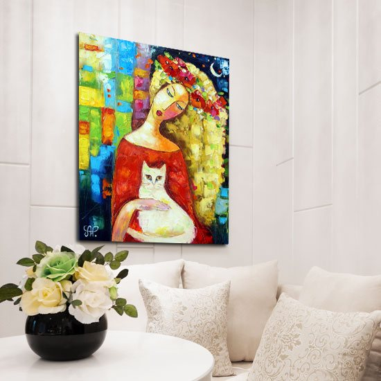 obraz z dziewczyną i białym kotem
