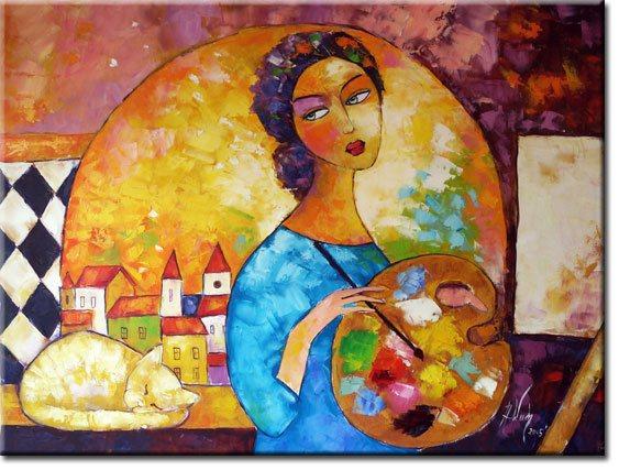 obraz kobieta z paletą malarską