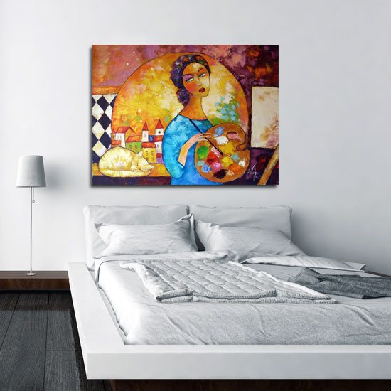 obraz malująca dziewczyna i kot