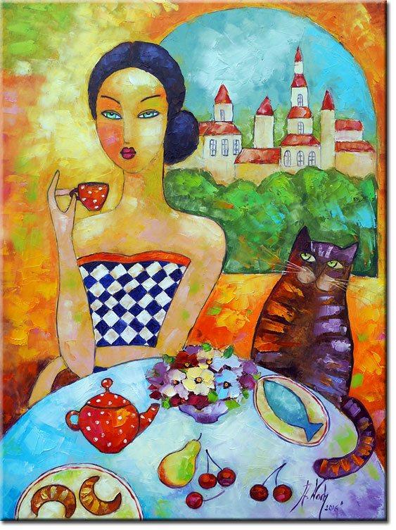 obraz kobieta przy stole
