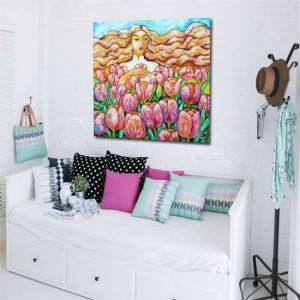 reprodukcja dziewczyna z tulipanami