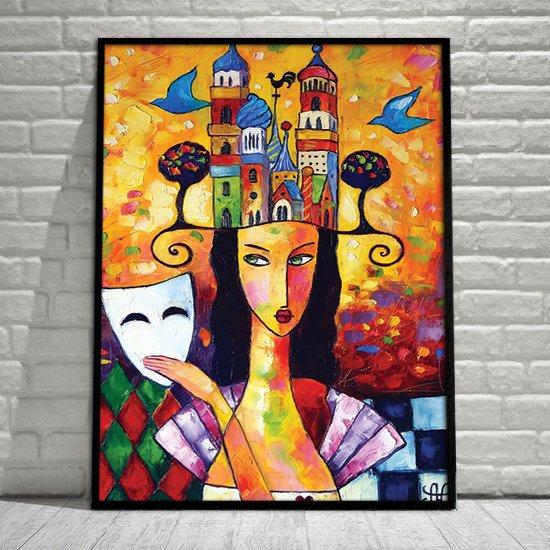 Plakat Jak Malowany Kobieta Z Białą Maską