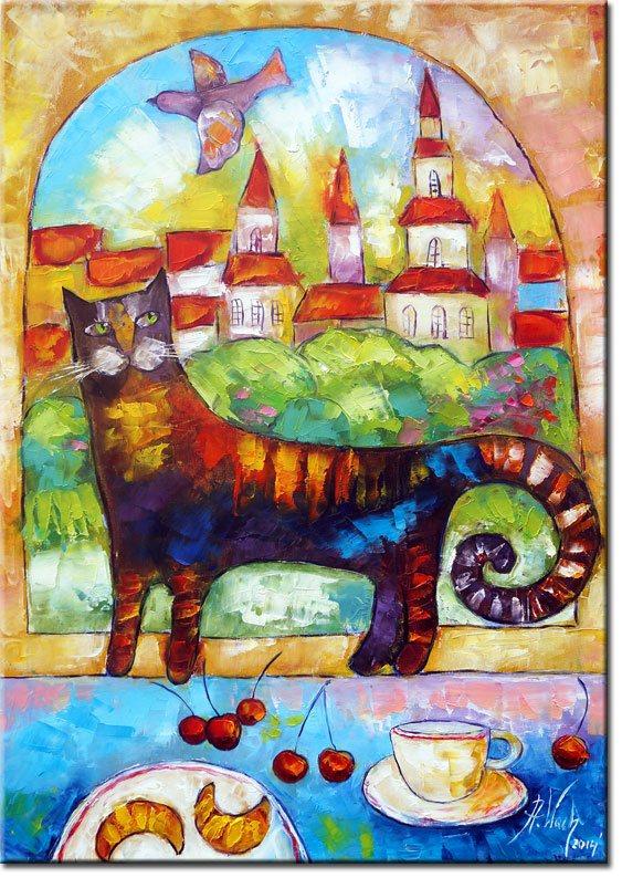 plakat z malarstwem kot w oknie