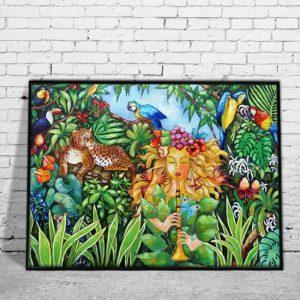 dekoracja z reprodukcją malarstwa kobieta w dżunglii