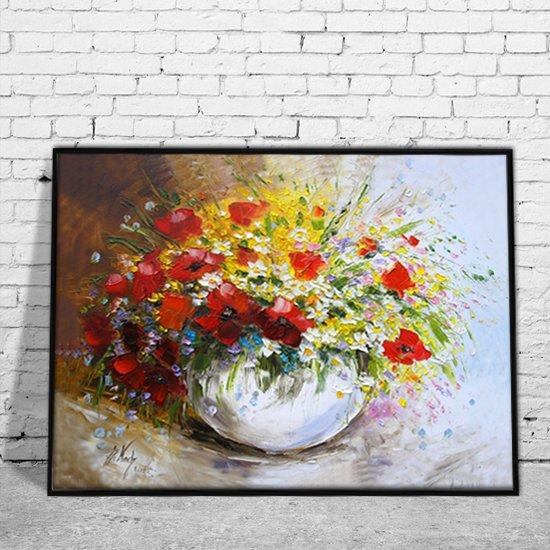 Plakat Z Reprodukcją Bukiet Kwiatów W Białym Wazonie