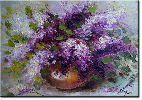 plakat z fioletowymi kwiatami bzu
