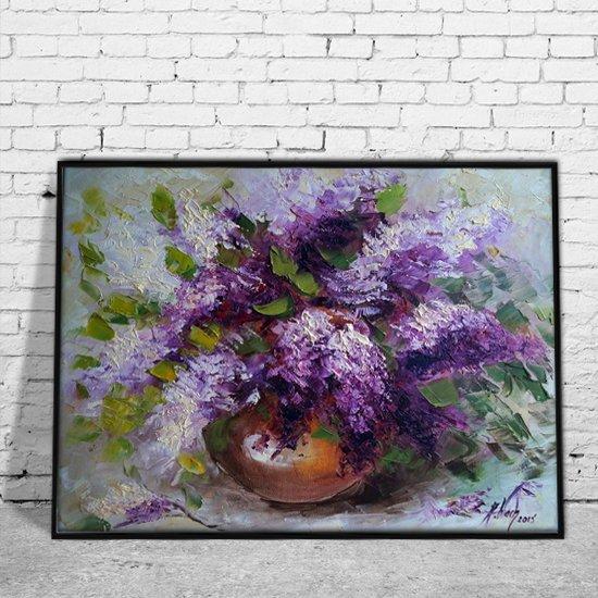 plakat jak malowany fioletowe bzy