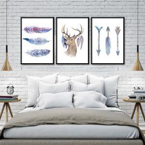 potrójny plakat z głową jelenia