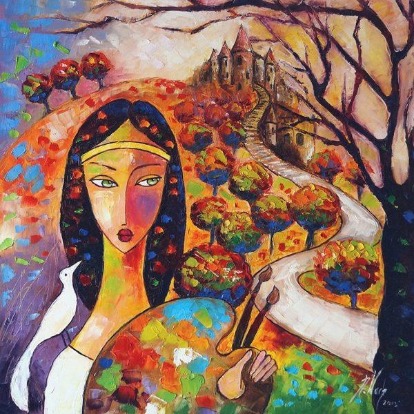 fototapeta dziewczyna i drzewo