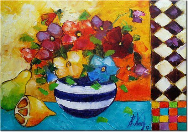obraz kwiaty i cytryny