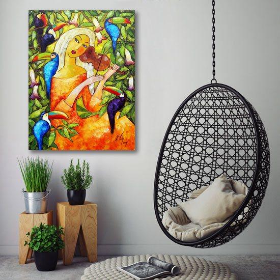 obraz kobieta z tukanami