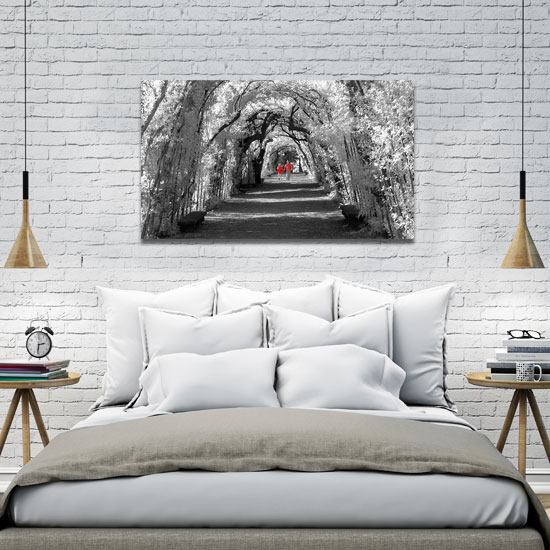 obraz czarno-biały z elementem czerwieni