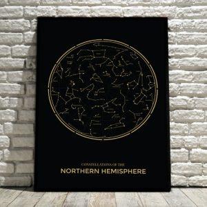 plakat ze złotą konstelacją gwiezdną
