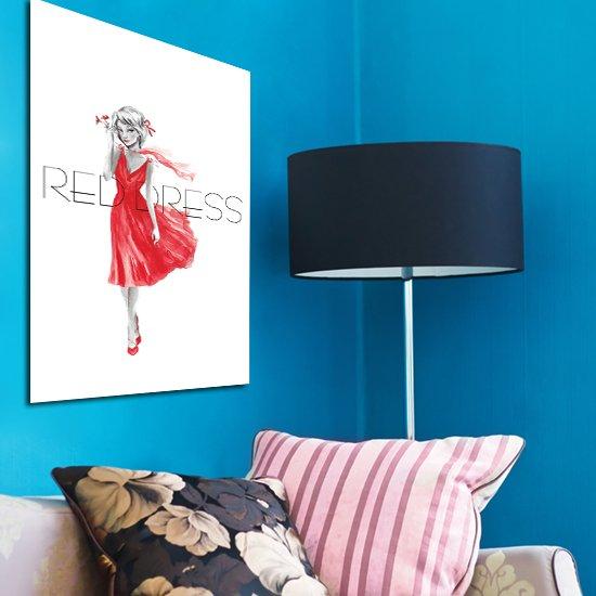 Red dress - plakat w ramie na ścianę