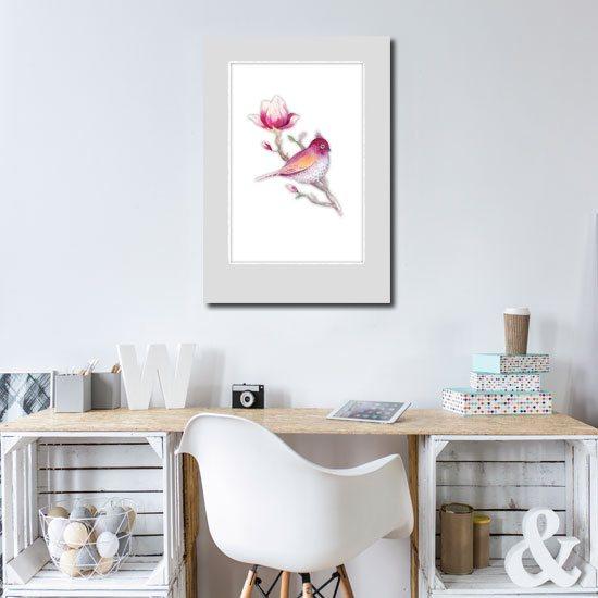 plakat z motywem ptaszka i magnolii