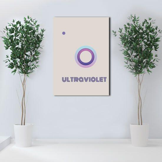 plakat z fioletową abstrkacją