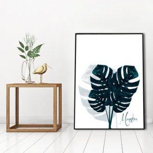 plakat liście tropikalne