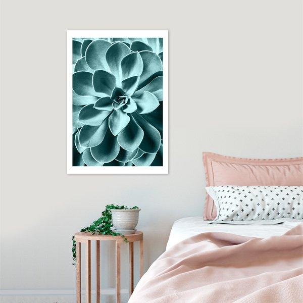 plakat w ramie do sypialni - turkusowy sukulent