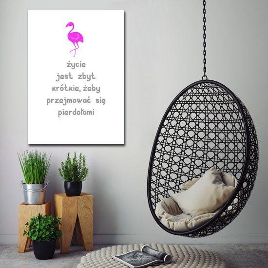 Plakat z różowym flaminiem
