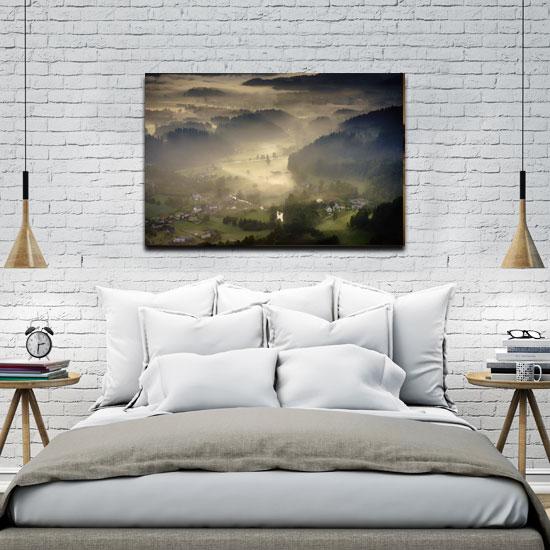 obraz z mgłą do sypialni
