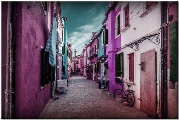 obraz z różowymi budynkami