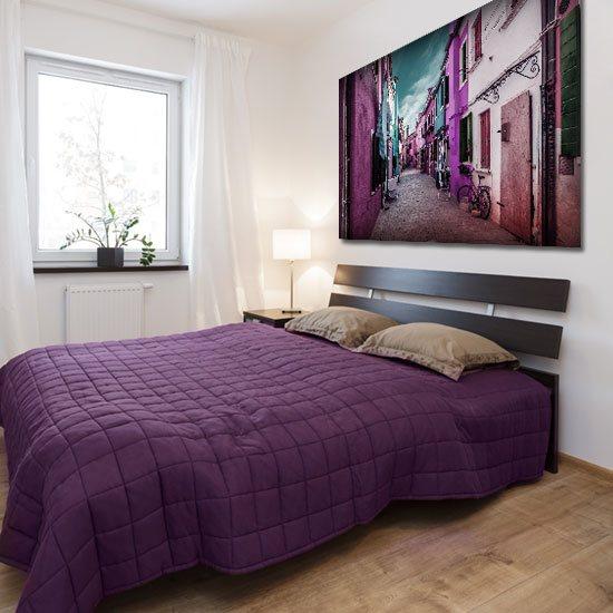sypialniany obraz z domkami