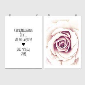czarny napis z różą
