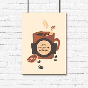 brązowy plakat z kawką