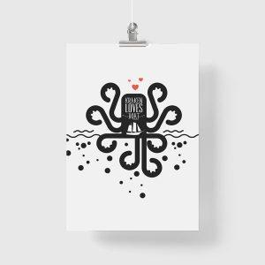 kraken loves boat jako plakat