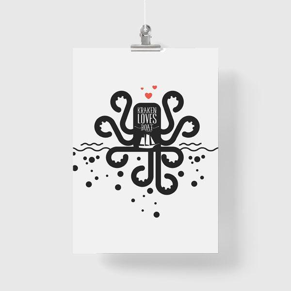 Czarno Biały Plakat Z Napisem Kraken Loves Boat