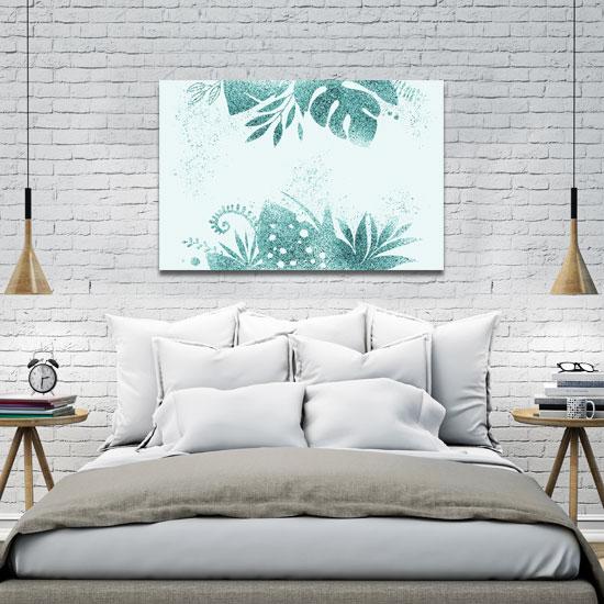 obraz brokatowy w sypialni
