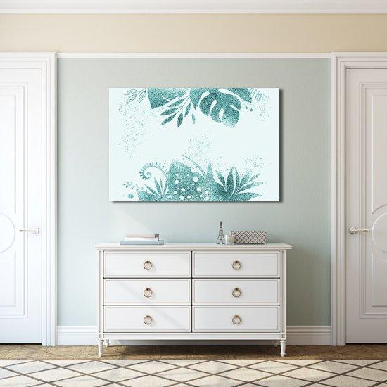 turkusowe liście w salonie