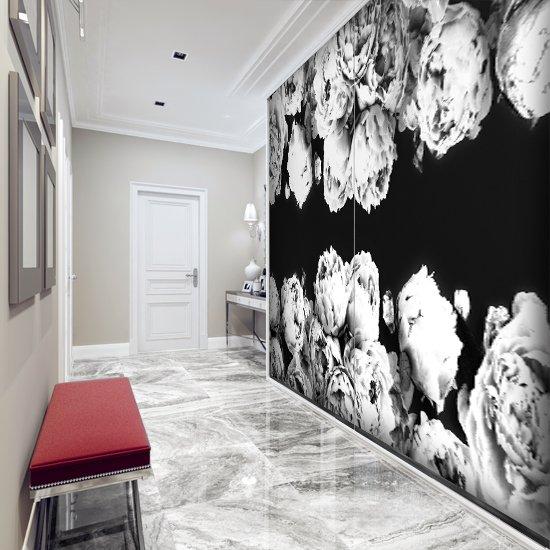 Czarno Biała Foto Tapeta Z Kwiatami