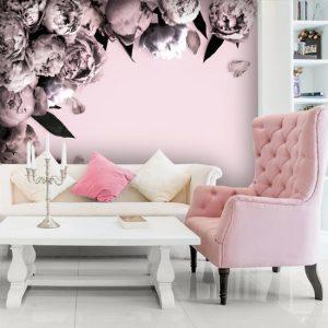 salon z różową fototapetą