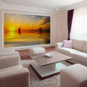 tapeta ze słońcem do salonu