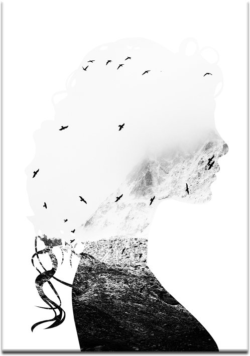 biało-czarny plakat do salonu z kobietą
