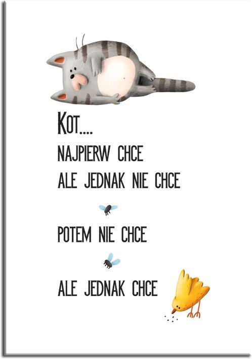 polski napis i kot jako plakat