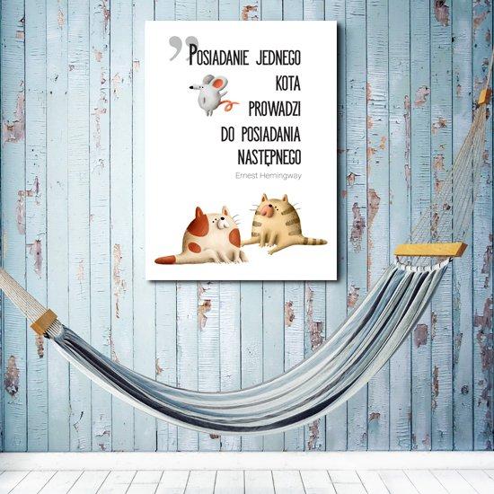 plakat z cytatem o kotach
