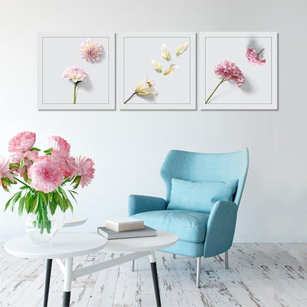 Tryptyk Kwadratowy Z Kwiatami