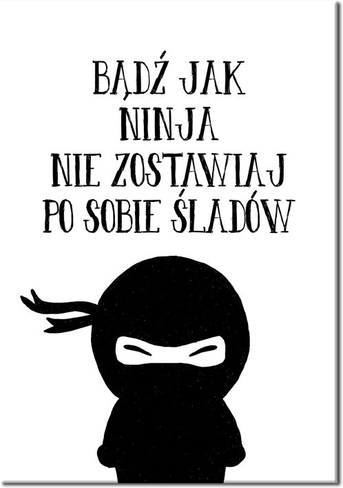 plakat do łazienki z napisem: bądź jak ninja...